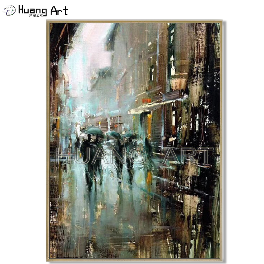 Professional Artist Handmade Modern Building Landscape Oil Painting on Canvas Streetscape Oil Painting for Wall Decor Picture