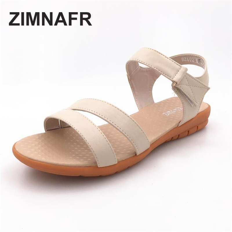 2017 Summer new flat heel woman sandals Oxford soft bottom non-slip genuine leather mom female sandals comfortable size 41-43 2016 summer style transparent sandals white gauze flat point diamond women s sandals flat shoes non slip soft bottom shose