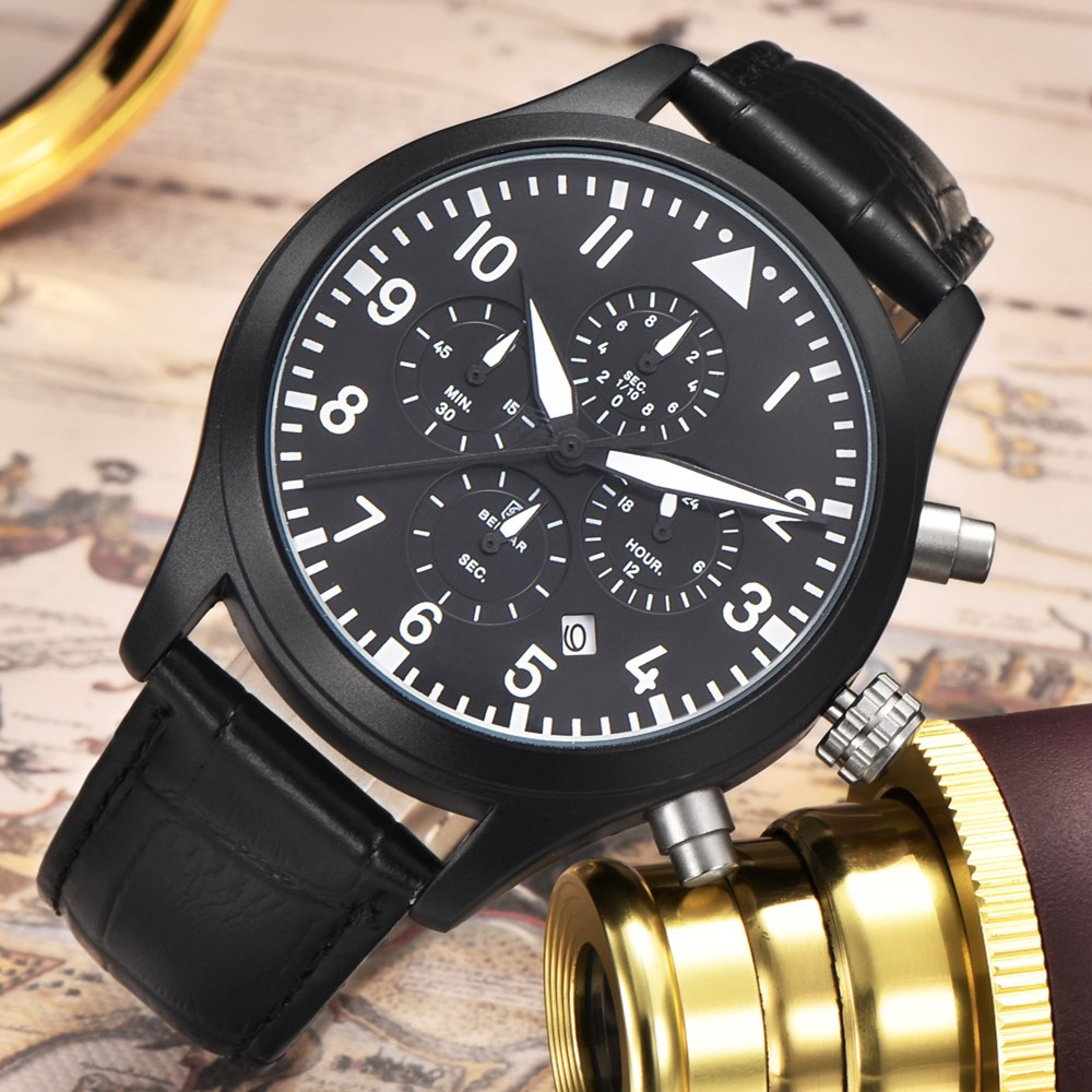 BENYAR Brand Sports Men Watch Fashion Waterproof 30M Leather Original Military Men Quartz-watch Clock Relogio Masculino 2017 weide original brand sports military watch men fashion quartz wrist watch pu band 30m waterproof multifunctional sale items