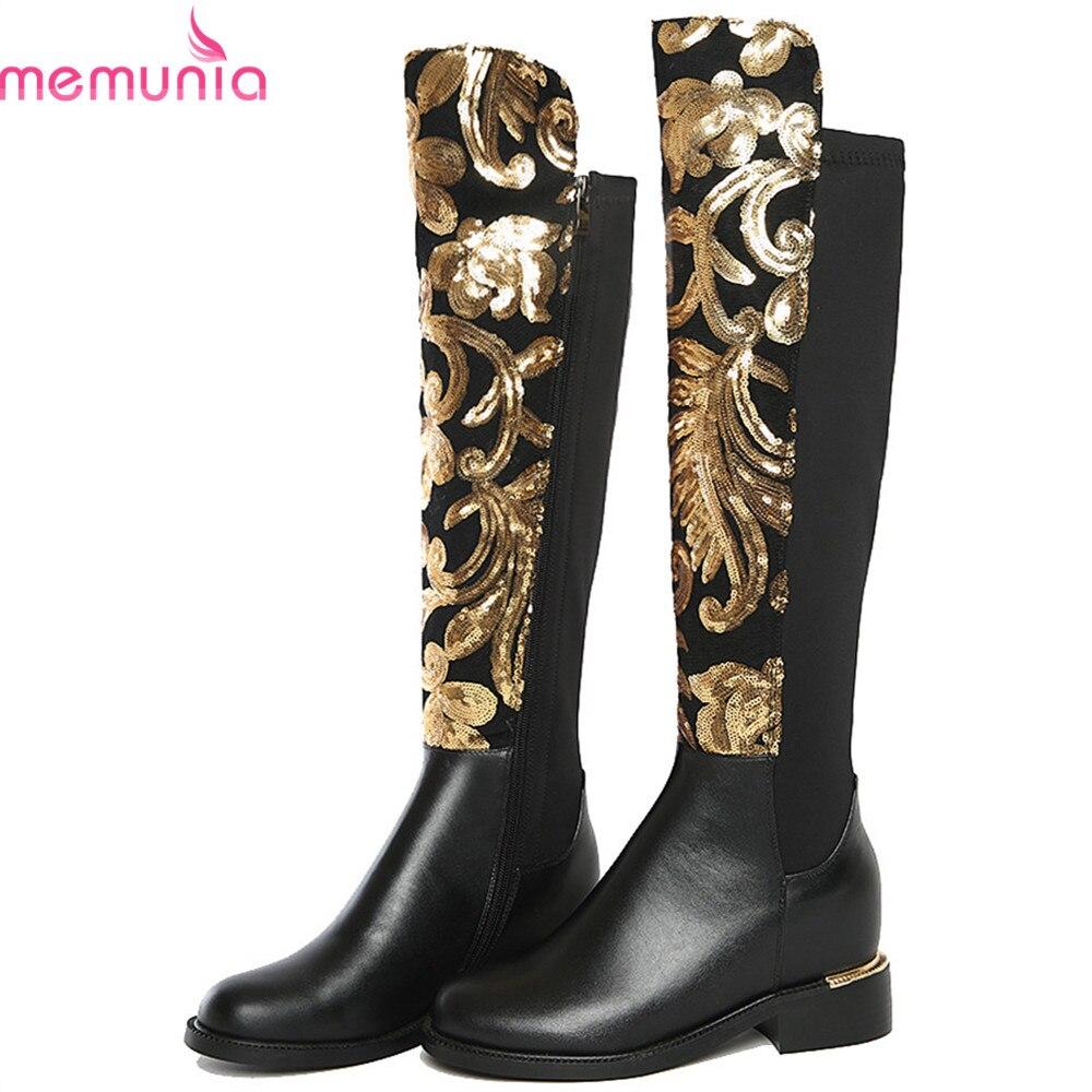 MEMUNIA 2019 mode nouvelles femmes bottes noir en cuir véritable dames bottes talon carré fermeture à glissière en cuir de vache sur les bottes au genou-in Cuissardes from Chaussures    1