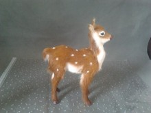 simulation standing pose brown sika deer about 20*15CM model toy polyethylene & furs deer toy handicraft ,decoration gift t412