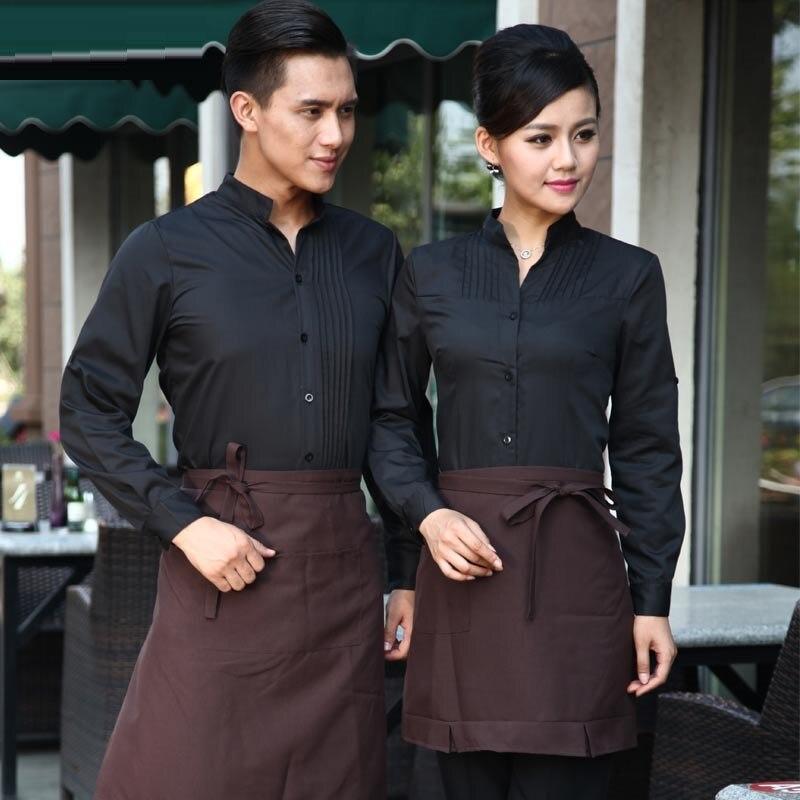 (10 Set-shirt & Schort) Ober Werkkleding Vrouwelijke Uniform Lange Mouwen Restaurant Ober Overalls Met Schorten De Barman Kleding Tekorten