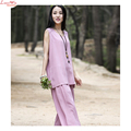 Art Original Fresh Linen Women Sleeveless Vest Calf-length pants Fashion Summer Sets Casual Quality Popular Suits