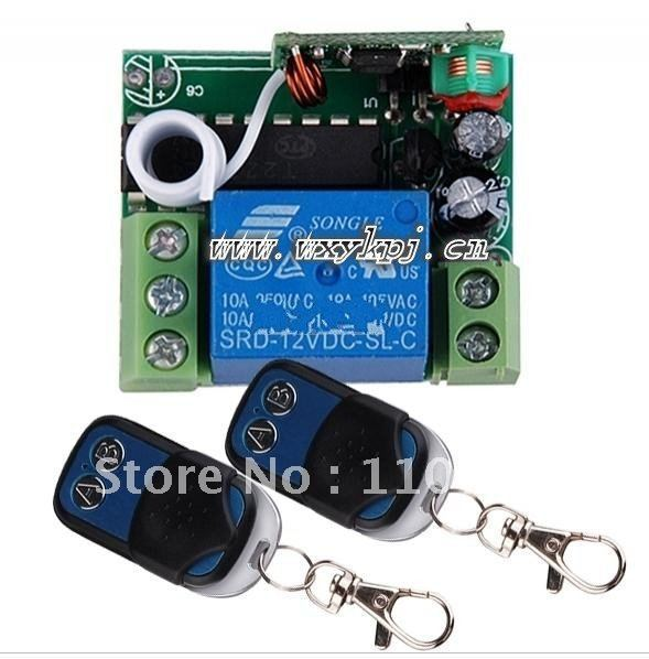 Free shipping 12V 1ch wireless remote control light/door system switch 2 Tansmitter & Receiver Fixed code smart home z-wave best price free shipping fixed code rf wireless remote control switch system receiver board