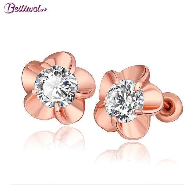 Pendientes de tachuela para mujer joyería Simple flor moda blanca AAA zirconio cristal Rosa oro Color para regalo de las señoras al por mayor precio