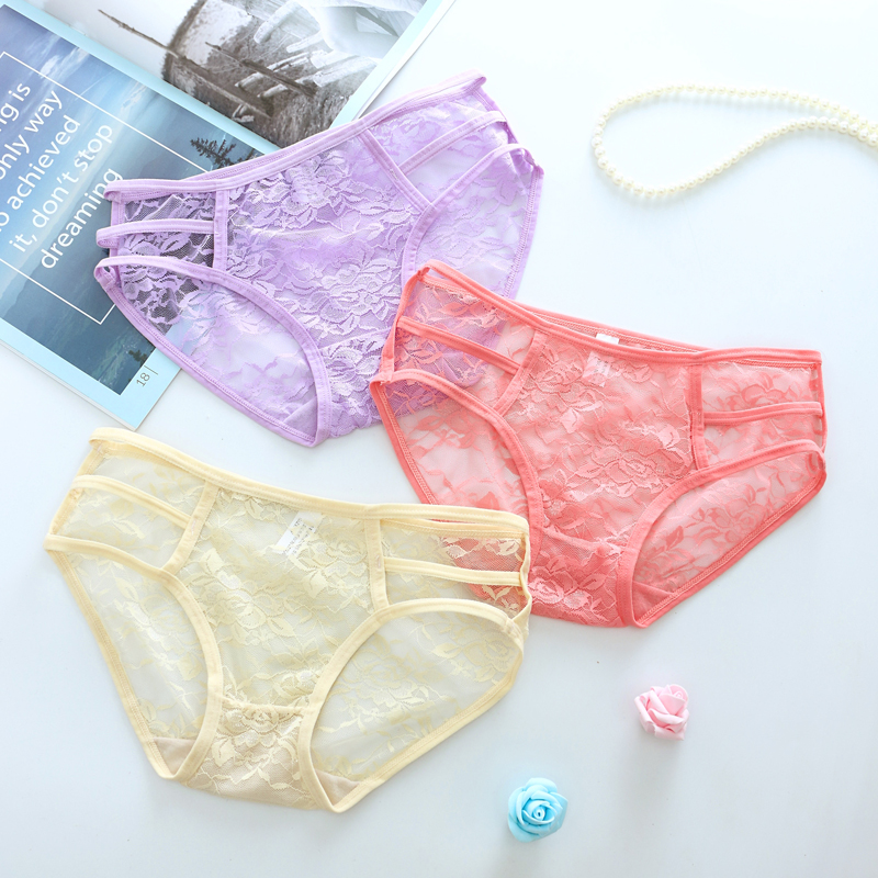 Hot Sale transparent underare women sexy panties g strings low waist brief hollow lingerie Perspective transparent underware