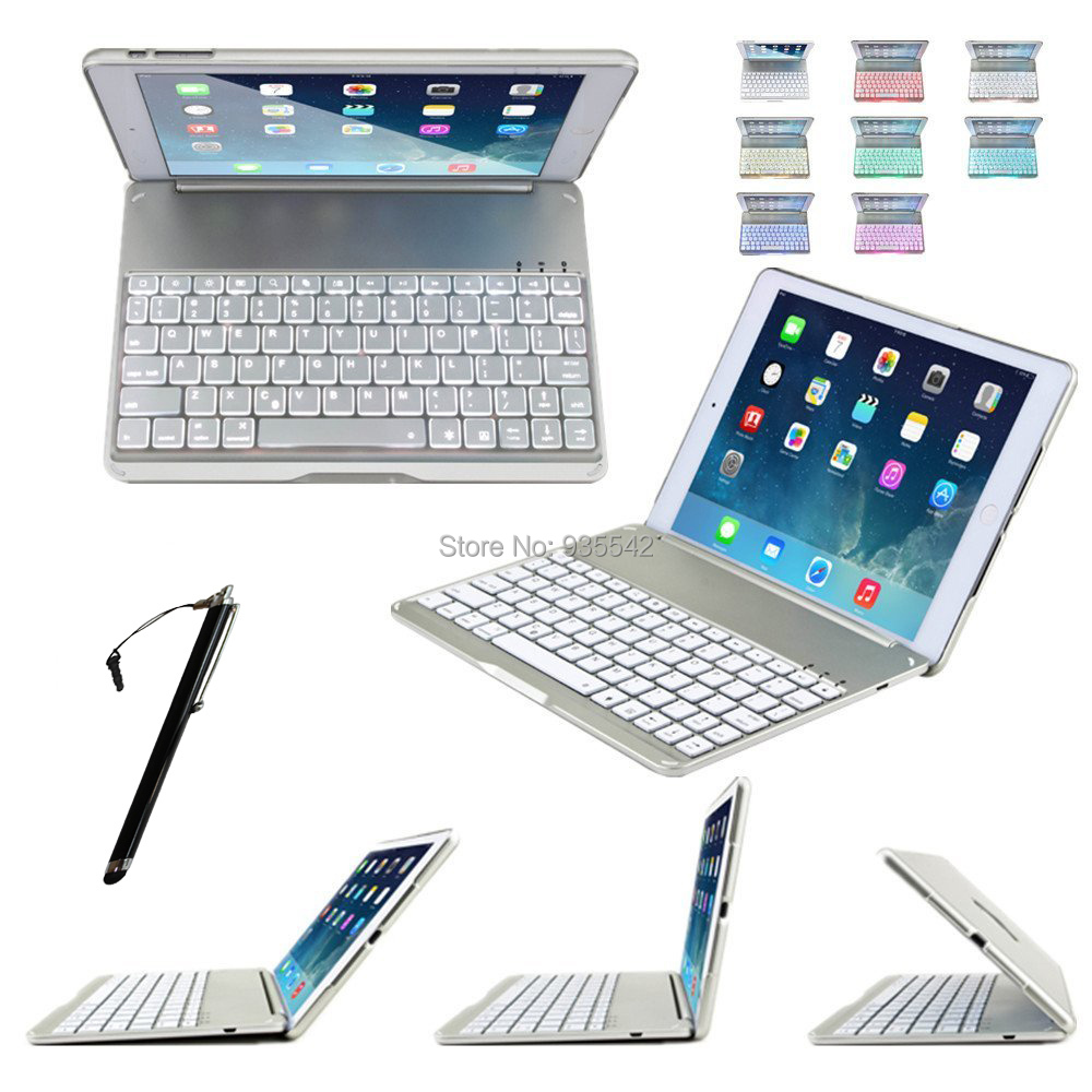 ФОТО For Apple iPad Air 2 3-in-1 Ultra Slim Shell Aluminium Folio ABS Wireless Bluetooth Keyboard Carrying Stand Case Cover