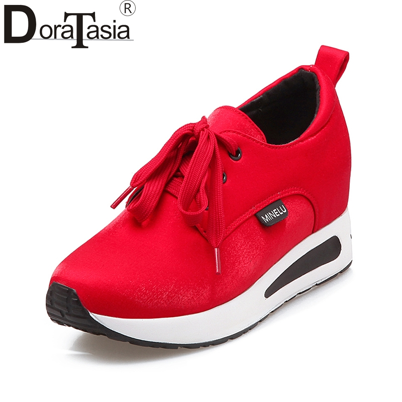 DoraTasia 2018 Fashion Size 31-42 Black Red Vulcanize Shoes Women Casual Lace Up Comfortable Light Bottom Woman Sneaker Shoes