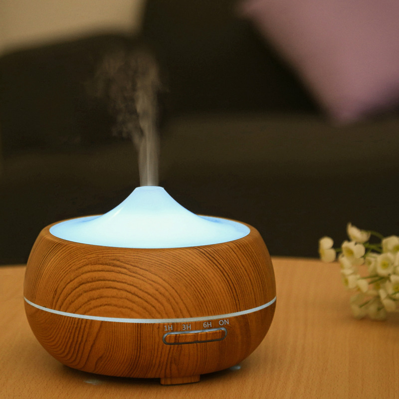 300ml Air Humidifier Essential Oil Diffuser Wood Grain Aromatherapy Diffusers Aroma Mist Maker Led Light for Home waterdrop 300ml wood essential oil diffuser aromatherapy humidifier aroma mist maker 3 models 7 color light timer setting