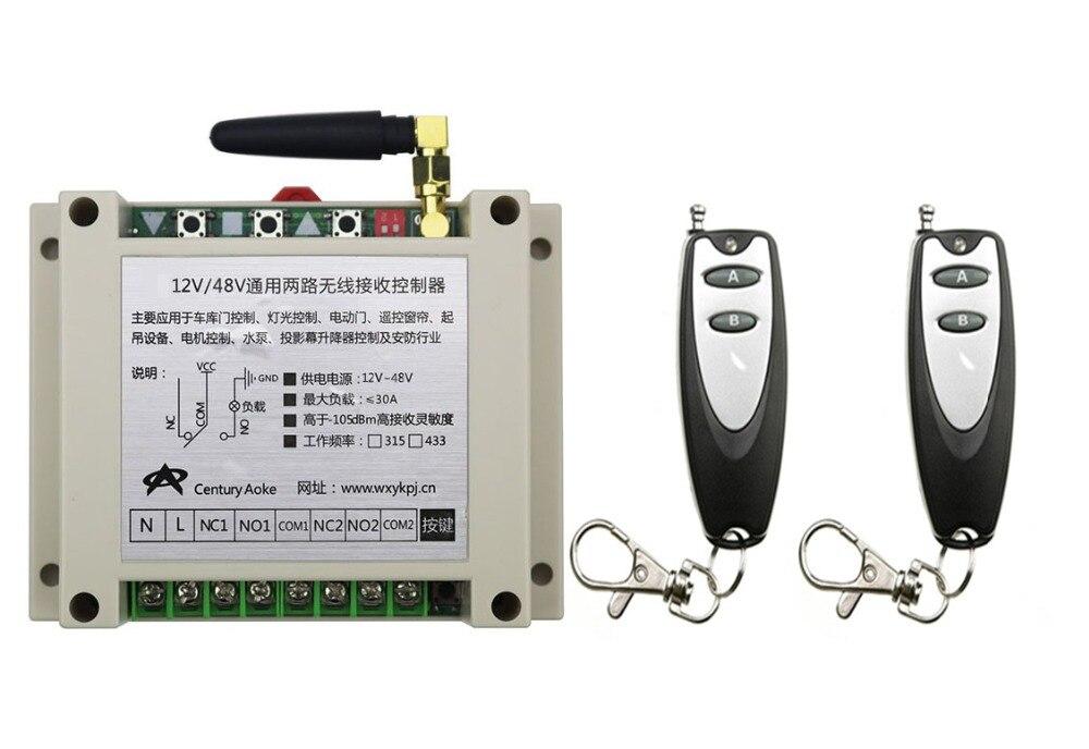 ФОТО New DC12V 24V 36V 48V 10A 2CH Remote Control Garage Door RF Wireless Remote Control Switch System 2X Transmitter + 1 X Receiver