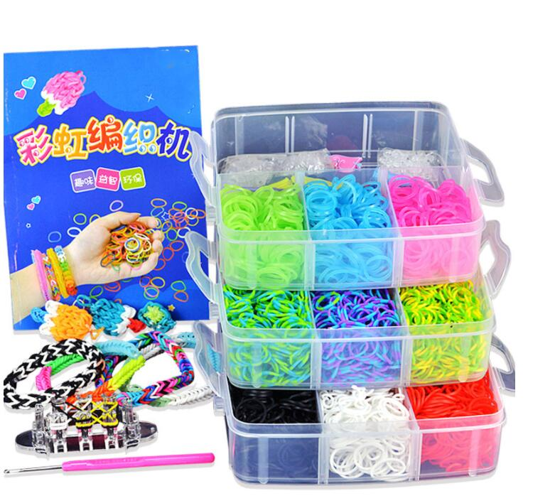4500pc Colorful Gum For Bracelets Loom Bands Small Three-layer Boxed S Nail Button Bangle Loom Rubber Bands For DIY BRACELET(China)