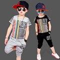 2017 New Kid Boy Summer Ropa de Niños Sets Cortos de Rayas Juego de Los Muchachos Ropa de Manga Corta t-shirt + Shorts para 3-9Y