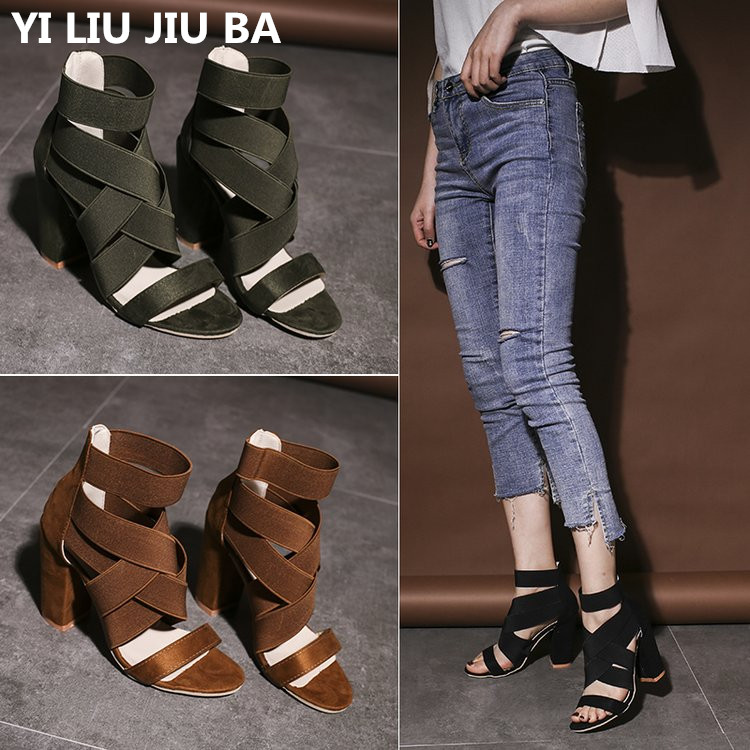Women Shoes Sandals Square Heels Ankle-Strap Size34-43 Pumps High-Heels Super Plus Mujer--063