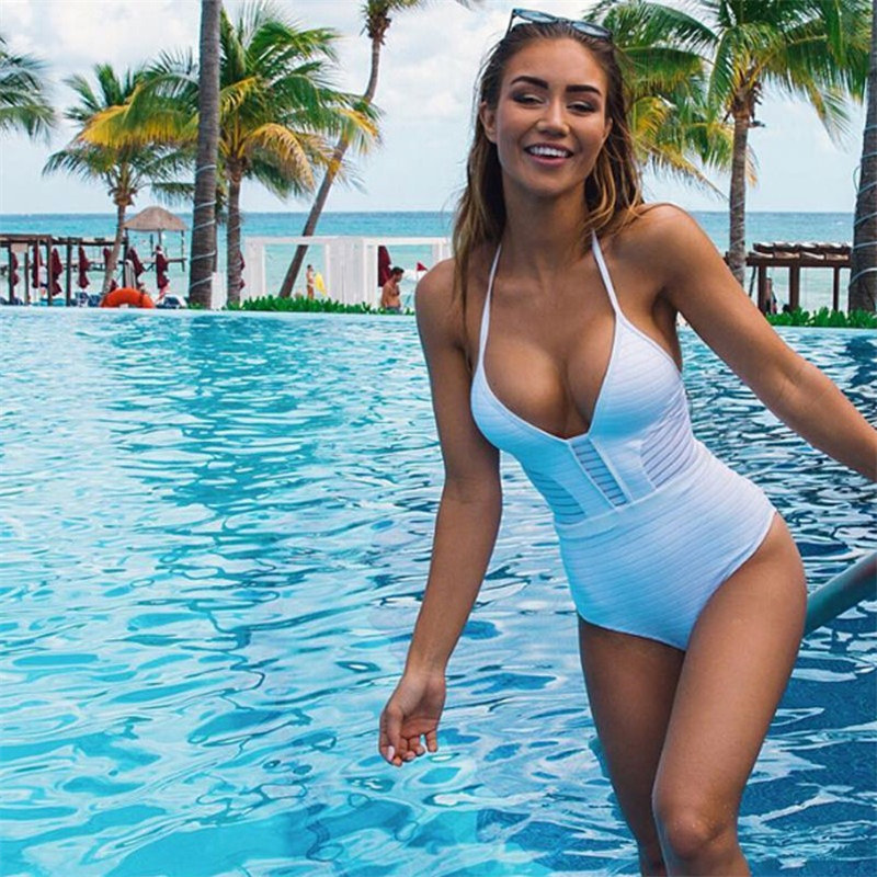 Mesh One Piece Swimsuit Female Swimwear Push Up Bathing Suit White Bodysuit Summer Beach Wear Swim Wear Plavky Women floral two piece swimsuit women swimwear green leaf bodysuit beach bathing suit swim swimsuit push up monokini bathing wear 2017