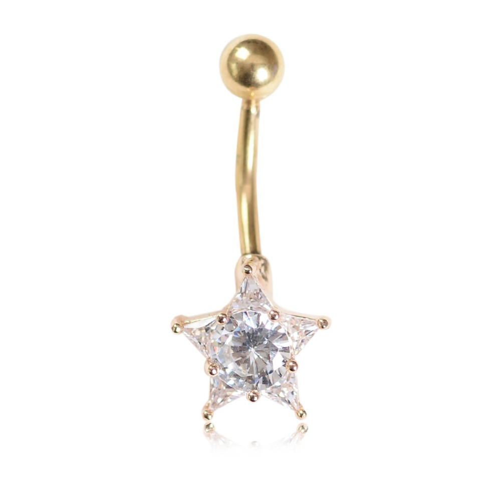1x Rhinestone Star Dangle Surgical Steel Belly Navel Ring Barbell Body Piercing Gold Silver Color