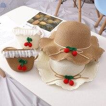Летняя шляпа для маленьких девочек пляжная соломенная шляпа Панама милые солнечные шляпы для детей УФ защитная Кепка с металлической буквой