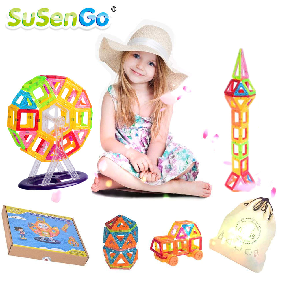 SuSenGo Magnetic Designer Mini Building Blocks 40/60/80/90 Piece 3D Construction Toys Kids Baby Educational Creative Bricks susengo 60 80 100pcs mini magnetic block designer model kit 3d building brick toys diy construction kids gift for children baby