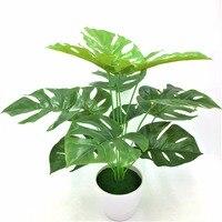 1pc 50CM Best Quality With Vase Big Leaves Decorative Flowers Wreaths Plant Artificial Flowers Green Pot