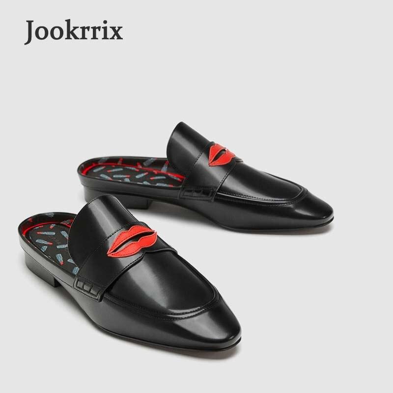 Jookrrix 2018 Summer New Girl Fashion Brand Black Shoes Women Slipper Silp On Lady Beach Slides Leisure Platform Mules Lips Soft цена