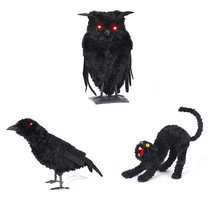 1Pcs Halloween gadget Plastic owl Joke Decoration Props Rubber Toy Gags Practical Jokes Toys Plastic Artificial Animal Props(China)