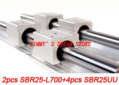 Free Shipping 2pcs SBR25-700mm Linear Bearing Rails + 4pcs SBR25UU Bearing Locks CNC X Y Z free shipping 2pcs sbr16 700mm linear bearing rails 4pcs sbr16uu bearing locks cnc x y z