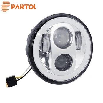 "Partol 5 3/4"" Motorcycle LED Headlight Headlamp Projector Halo  ForNight Train 2000-2005 & 2007-2009, Night  2006-11"