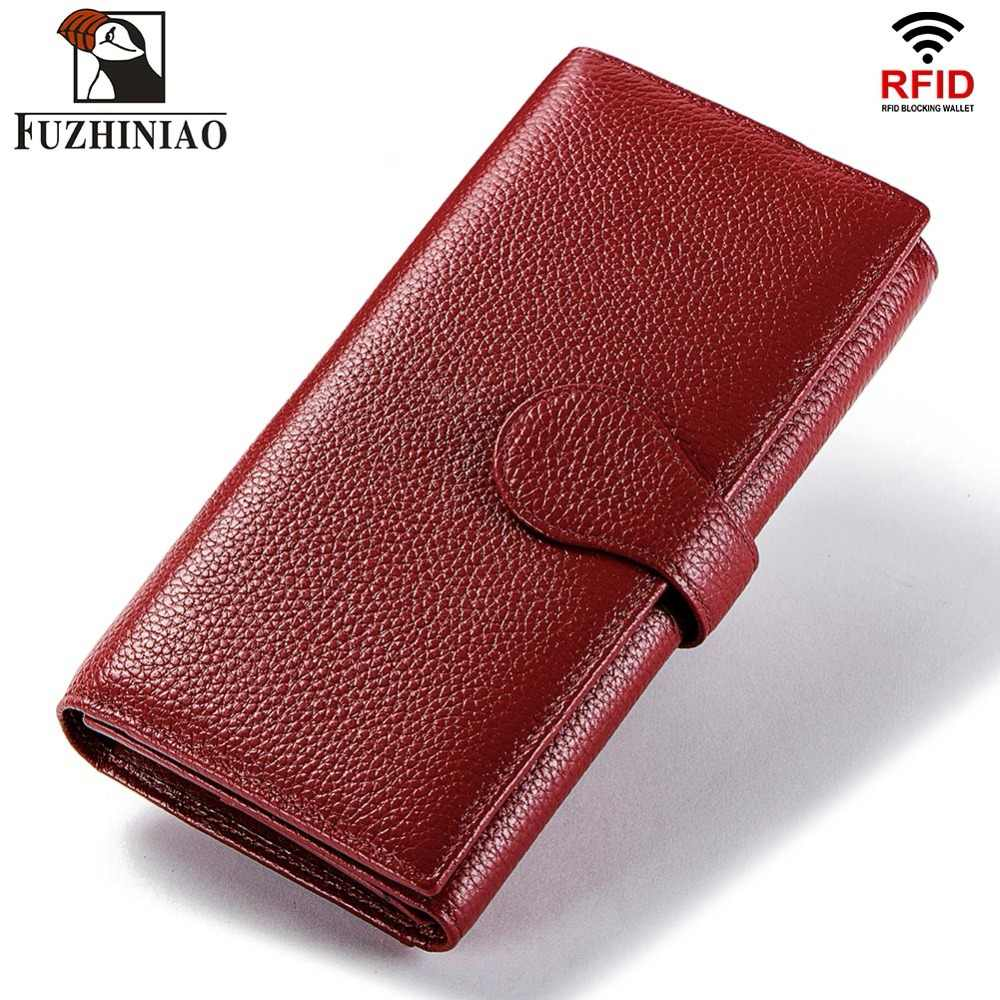 bfc46e25ffc3 FUZHINIAO Genuine Leather Men Wallet Female and Coin Purse Walet Portomonee  Rfid Clamp for Money Male