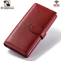 FUZHINIAO Genuine Leather Men Wallet Female and Coin Purse Walet Portomonee Rfid Clamp for Money Male Card Holder Long Hasp Red