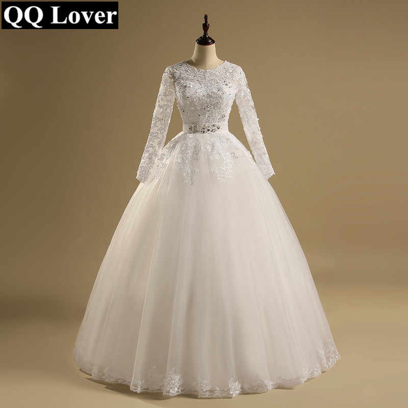 QQ Lover 2019 Ball Gown Vestido De Noiva Long Sleeves Appliques Wedding Dress Wedding Gown