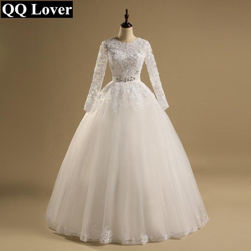 QQ Lover 2019 Ball Gown Vestido De Noiva Long Sleeves Appliques Wedding Dress Wedding Gown