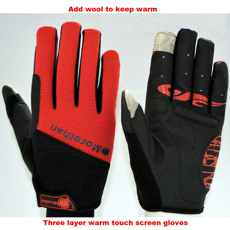 2016 Long Finger Cycling Glove Gel Touch Screen Gloves for Man Woman MTB BMX DH Off Road Motocross Full Finger Gloves outdoor