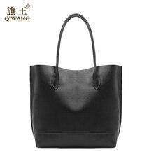 цены Qiwang Ladies Hand Bags Top-handle Tote Composite Bag 2019 Women Shoulder Bucket Bags Luxury Genuine Leather Large Handbags
