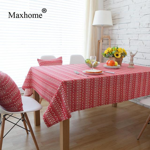 Little Red Deer Stripe Tablecloth Christmas Tree Table Cloth Cotton Linen  Tablecloths Christmas Table Cloths Toalha