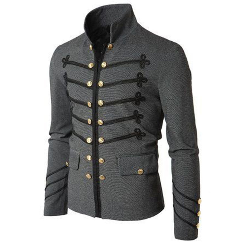 Purim Victorian Gothic Style Jacket Zipper Christian Medieval Knight Coat Solid Middle Ages Male Carnival Clothing in Movie TV costumes from Novelty Special Use
