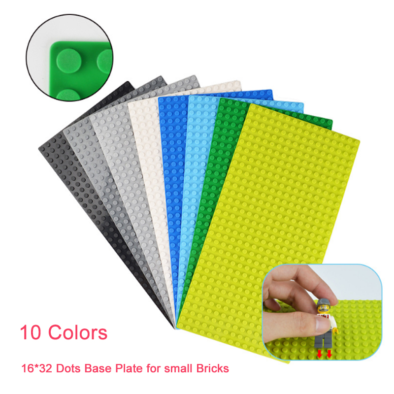 16*32 Dots Base Plate for Small Bricks 10 Colors Baseplate Board DIY Building Blocks Toys For Children Compatible with legoing
