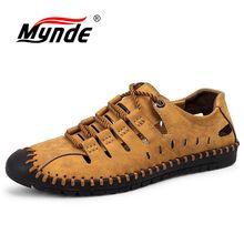 Mynde Summer Comfortable Men Casual Shoes Loafers Men Shoes Quality Split Leather Shoes Men Flats Moccasins Shoes Size 38-46