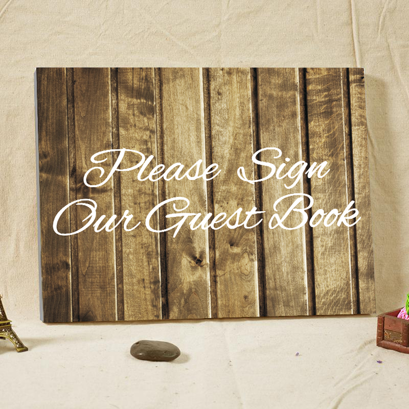 Personalized rustic wooden wedding guest book custom name for Personalized home decor