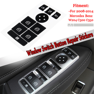 1 pc Car Window Switch Button Repair Stickers Ruined Faded Center Controls Kit For Mercedes For Benz 2008-2014 W204 C300 C350
