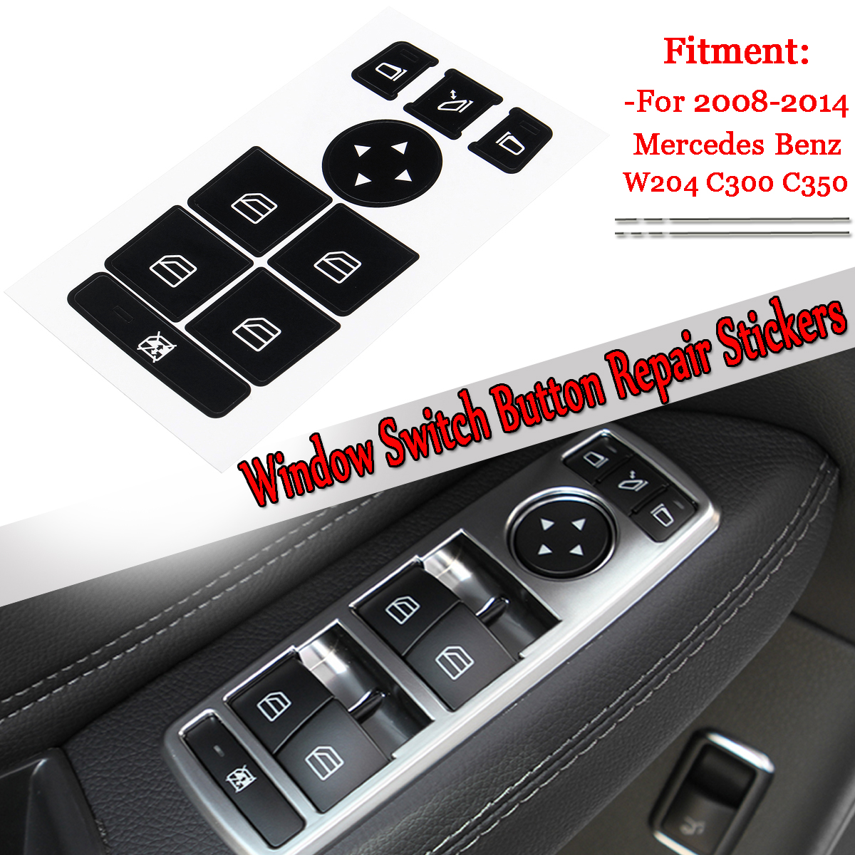 1 pc Car Window Switch Button Repair Stickers Ruined Faded Center Controls Kit For <font><b>Mercedes</b></font> For Benz 2008-2014 W204 <font><b>C300</b></font> C350 image
