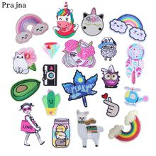 Prajna Cartoon Unicorn Patches Rainbow Girls Cats Iron On Embroidery Patch Cute Owls Applique For Clothing Stickers DIY Kids