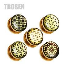 TBOSEN 2PCS Custom Steel Ear Piercing Stretcher Gauges Tunnels Plug Screw Fashion Expander Body Jewelry Earrings Gift Women Men