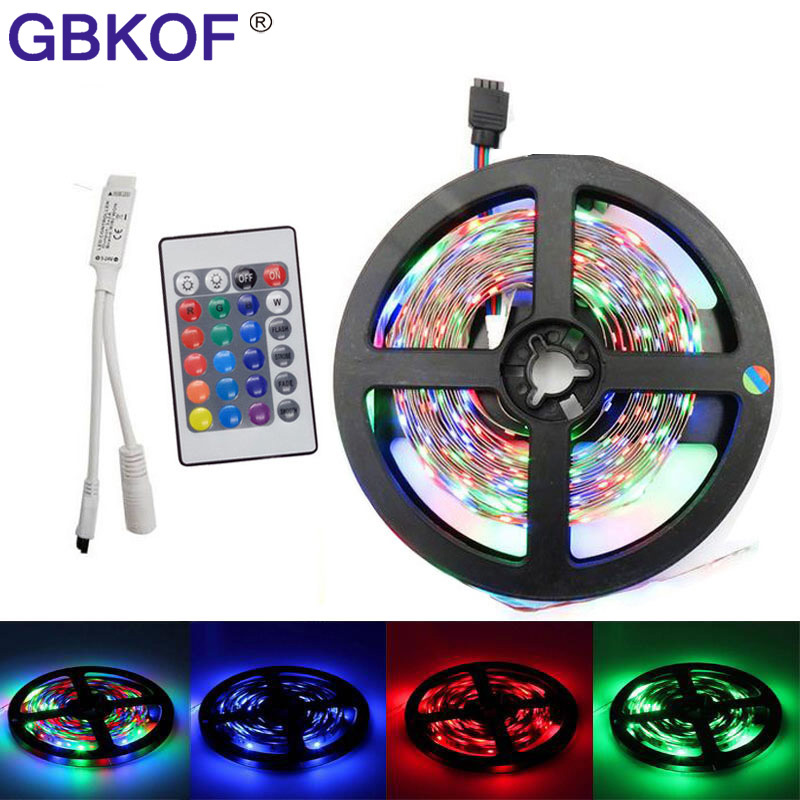 5m LED Strips 3528 non-waterproof SMD 12V flexible light tape 60leds/m RGB color luz led strip light with RGB remote controller