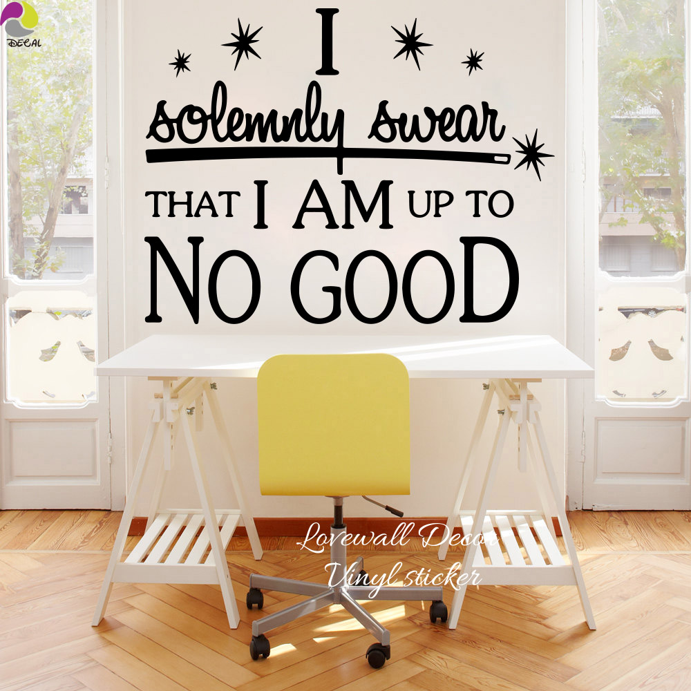 I am up to no good quote wall sticker office bedroom harry potter inspiration motivation quote for Stickers para dormitorios
