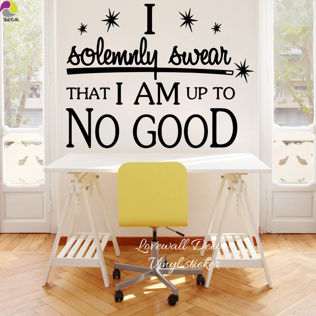 I Am Up To No Good Quote Wall Sticker Office Bedroom Harry Potter  Inspiration Motivation Quote