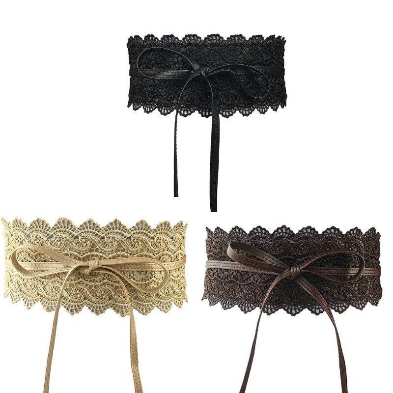 3PCS/LOT 2019 New Black White Wide Corset Lace   Belt   Female Self Tie Obi Cinch Waistband   Belts   for Women Wedding Dress Waist Band