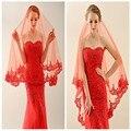 New chegada de moda 2017 hot sale simples red one camada bridal veil lace borda appliqued véu de noiva de alta qualidade