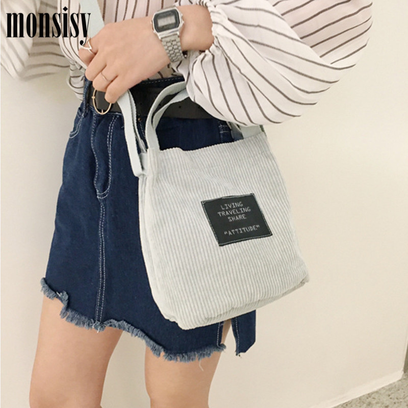 Monsisy Women Shopping Bag Girls Corduroy Tote Long Shoulder Bag Winter Solid Female Beach/Travel Handbag Ladies Folding Bags