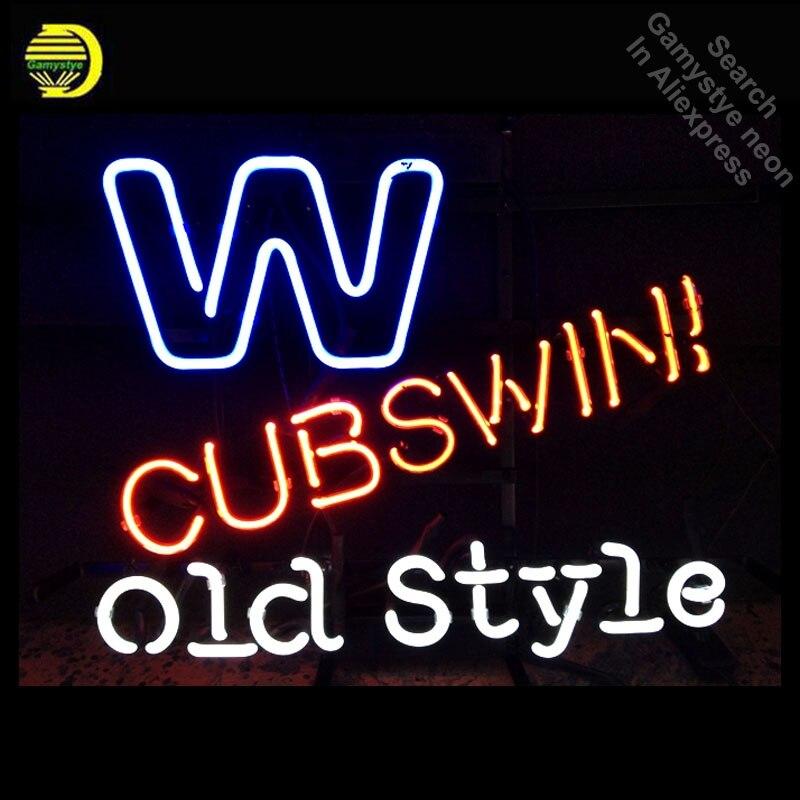 Işıklar ve Aydınlatma'ten Neon Ampuller ve Tüpler'de Neon Burcu ML Chicago Cubs Eski Stil Logo Neon Ampul işareti el sanatları neon ışık ışık Süslemeleri Odası el yapımı anuncio luminos