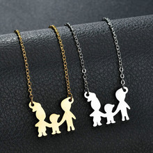 Eleple Family Love Son Daughter Stainless Steel Pendant Necklaces Children Mothers Fathers Necklace Gifts Jewelry S-N622