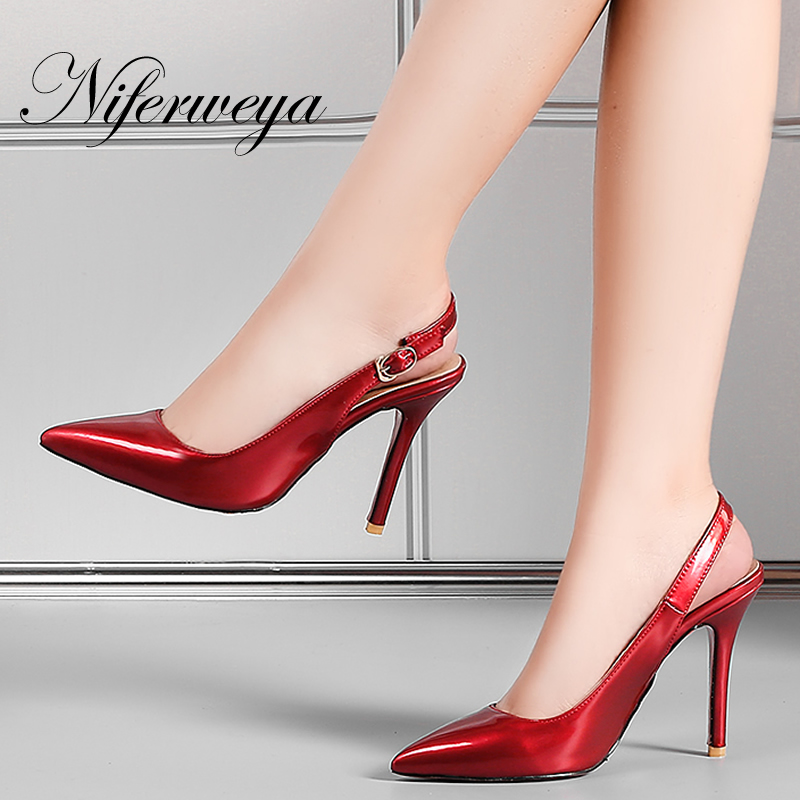 Sexy Pointed Toe ladies wedding shoes Big size 31-47 Spring/Autumn women Buckle Strap pumps thin heel Slingbacks high heels big size sale 34 43 new fashion sexy pointed toe women pumps spring summer autumn high heels ladies wedding party shoes 6629